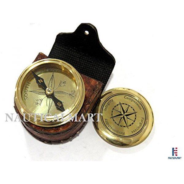 NauticalMart Survival Compass 1 NauticalMart Vintage Brass Compass with Nautical Gift Case Integrity, Responsibility, Forgiveness, Compassion Maritime