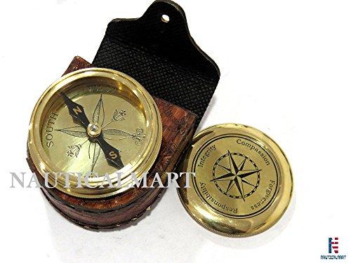 NauticalMart  1 NauticalMart Vintage Brass Compass with Nautical Gift Case Integrity