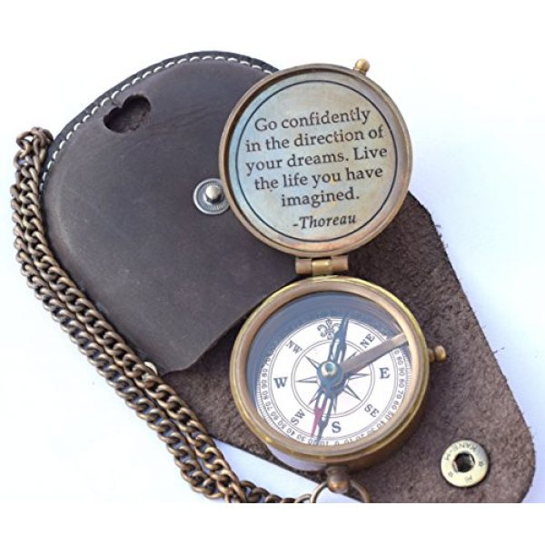 NEOVIVID Survival Compass 1 NEOVIVID Thoreau's Go Confidently Quote Engraved Compass with Stamped Leather case, Camping Compass, Boating Compass, Gift Compass, Graduation Day Gifts