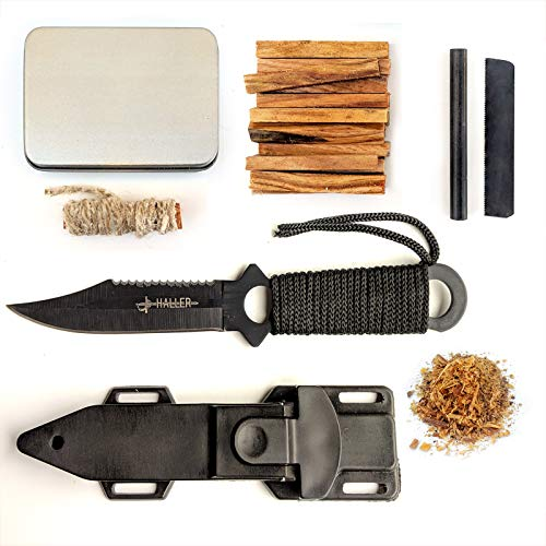 Kaeser Wilderness Supply  1 Kaeser Wilderness Supply Tactical Survival Kit Fixed Blade Combat Knife Fatwood Ferro Rod Camping Hunting Emergency