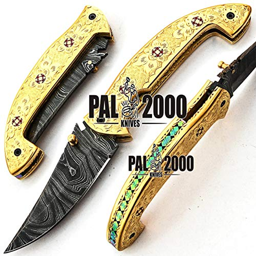PAL 2000 KNIVES  1 Custom handmade Damascus Steel Hunting Folding Pocket knife 7.4 Inches Brass Handle with Leather Sheath Amazing art Fishing Knife Camping Knife Hand Forged Bushcraft New Pattern Blade 9595