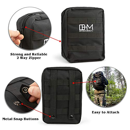 D AND H MEDICAL  3 D & H Medical Survival (IFAK) Trauma First Aid Kit for Emergencies. Includes Combat Action Tourniquet (CAT) and Much More. Great for Outdoor Gear for Camping Hiking Hunting Travel Car Adventures.