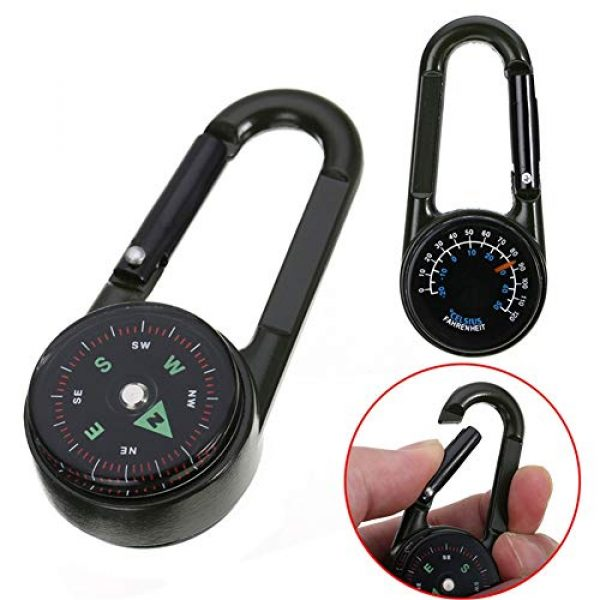 Sikeewii Survival Compass 1 Sikeewii 1PC Compass Camping Climbing Hiking 3-in-1 Multifunctional Carabiner Compass Thermometer 6.9x3x1.8cm Snap Hook Keychain Compass Outdoor Climbing Survival Tools