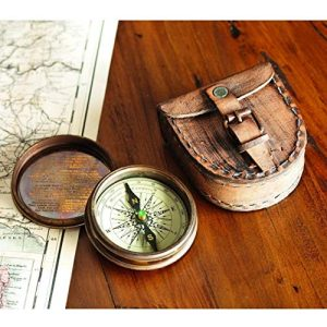 Wind & Weather Survival Compass 3 Antiqued Brass Poem Compass with Leather Case