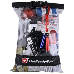 GetReadyNow Survival Kit 1 GetReadyNow | 2+ Person Deluxe Vehicle Emergency Kit Earthquake & Disaster Survival Supplies | Compact, Convenient Design | Clear Waterproof Dry Bag with Emergency Essentials