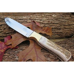 """DKC Knives Fixed Blade Survival Knife 1 (1 6/18) DKC-724-440c STAG Guard Stainless Steel Stag Horn Custom Handmade Hunting Handmade Knife Fixed Blade 10 oz 9.5"""" Long 4.5"""" Blade"""