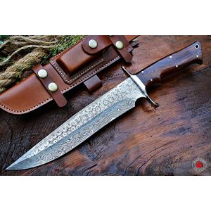 Bobcat Knives Fixed Blade Survival Knife 1 Bobcat Knives Custom Handmade Damascus Steel Bowie Knife with Leather Sheath