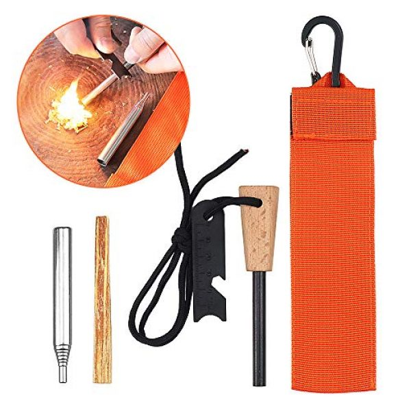 Lixada Survival Fire Starter 1 Lixada Emergency Survival Fire Starter Kit with Thick Magnesium Rod, Collapsible Fire Bellow Blower Pipe,Scraper,Rope,Carabiner,Twig and Carry Bag