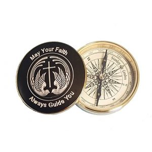 Stanley London Survival Compass 1 Stanley London Engraved Gold-Plated Religious Brass Desk Compass for Baptisms, Confirmations, Missionary, Birthday Gifts