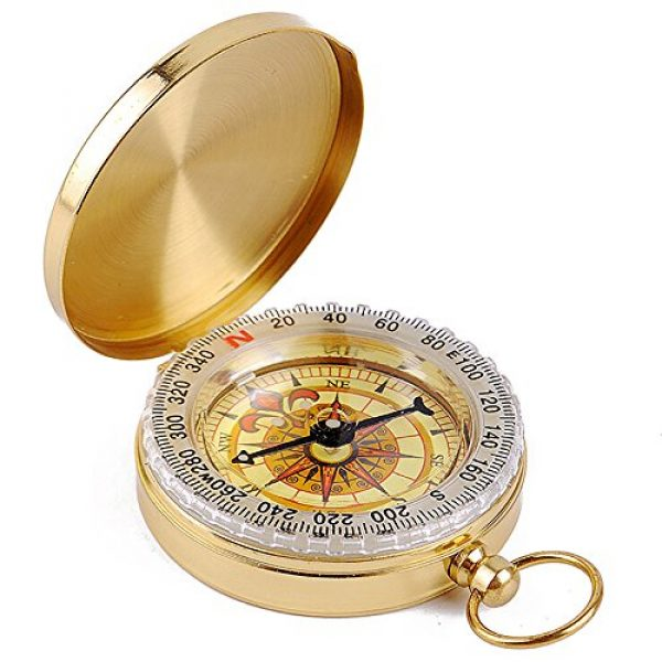 ydfagak Survival Compass 1 ydfagak Compass Premium Portable Waterproof Hiking Navigation Compass with Glow in The Dark Perfect for Camping Hiking and Other Outdoor Activities (Gold02)