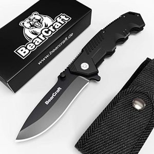 BearCraft  1 BearCraft Folding Knife in Matt Black inclusiveFREE eBook | Outdoor Survival Pocket Knife | Small one-Hand Knife with Stainless Steel Blade and Aluminum Handle| Perfect for Work Hiking Camping