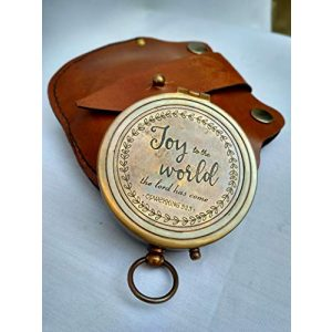 Antiqula Survival Compass 1 Joy to The World The Lord HAS Come Engraved Brass Antique Look Vintage Compass with Real Leather Case Antishock Outdoor Camping Hiking Home Decor staedtler Compass for Kids