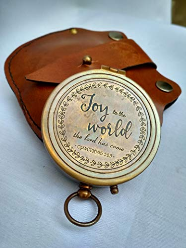 Antiqula  1 Joy to The World The Lord HAS Come Engraved Brass Antique Look Vintage Compass with Real Leather Case Antishock Outdoor Camping Hiking Home Decor staedtler Compass for Kids