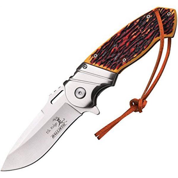 Elk Ridge Folding Survival Knife 1 Elk Ridge - Outdoors Spring Assisted Folding Knife, 4.75-in Closed, 3.5-in Stainless Steel Blade, Brown Wood Handle, Black Bolster, Leather Lanyard, Pocket Clip - Hunting, Camping, Survival, EDC - ER-A003I
