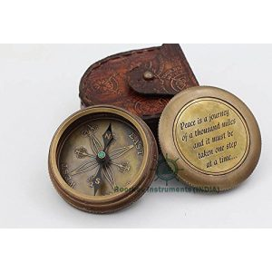 """Roorkee Instruments India Survival Compass 1 """"Peace is A Journey of A Thousand Miles"""" Solid Brass Compass W/Case"""