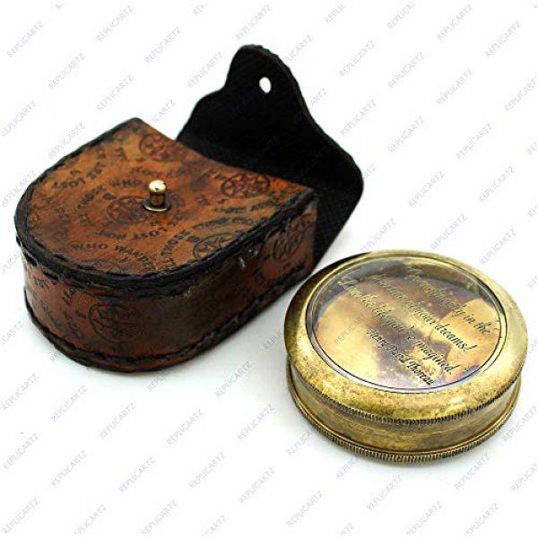 REPLICARTZ Survival Compass 1 Brass Handmade Nautical Poem Compass with leather cover (Thoreu)