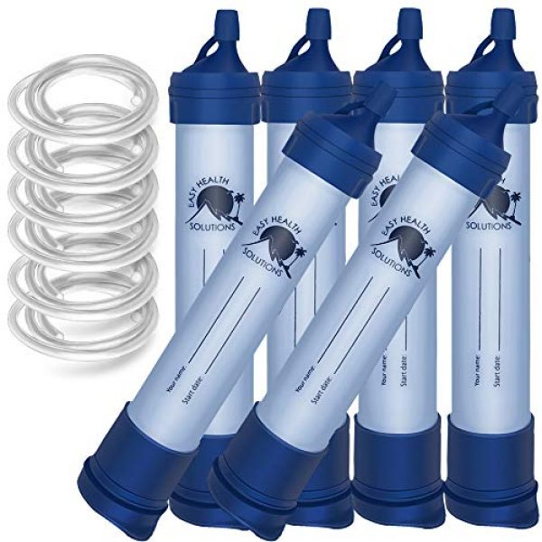 EASY HEALTH SOLUTIONS Survival Water Filter 1 EHS Water Filter Straw Portable Personal Emergency Filtration Purifier for Camping, Hiking, Travel, Scouting, Hunting, Survival & Backpacking Gear, Filtering Solutions, Family 6 Pack, Tubing Included