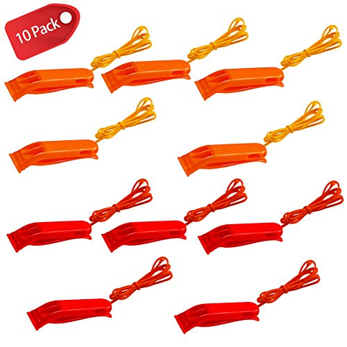 ShengTu  1 ShengTu Safety Whistles Emergency Whistle Plastic Whistle Red and Orange Set with Lanyard (10 Pack) for Boating Camping Hiking Hunting Emergency Survival Rescue