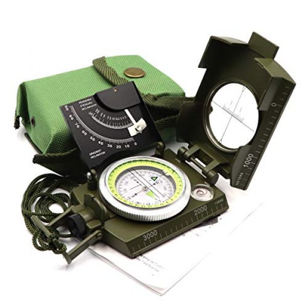 DETUCK Survival Compass 1 DETUCK(TM Military Compass Metal Lensatic Compass with Inclinometer, Night Fluorescent, Impact Resistant and Waterproof, Sighting Navigation Survival Compass for Hiking, Camping, Hunting, etc