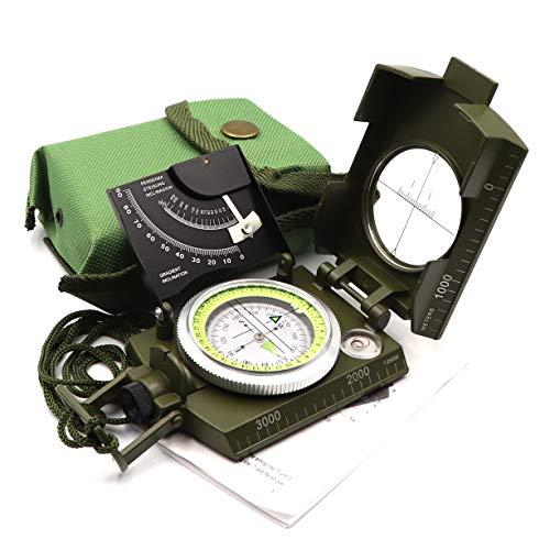 DETUCK  1 DETUCK(TM Military Compass Metal Lensatic Compass with Inclinometer