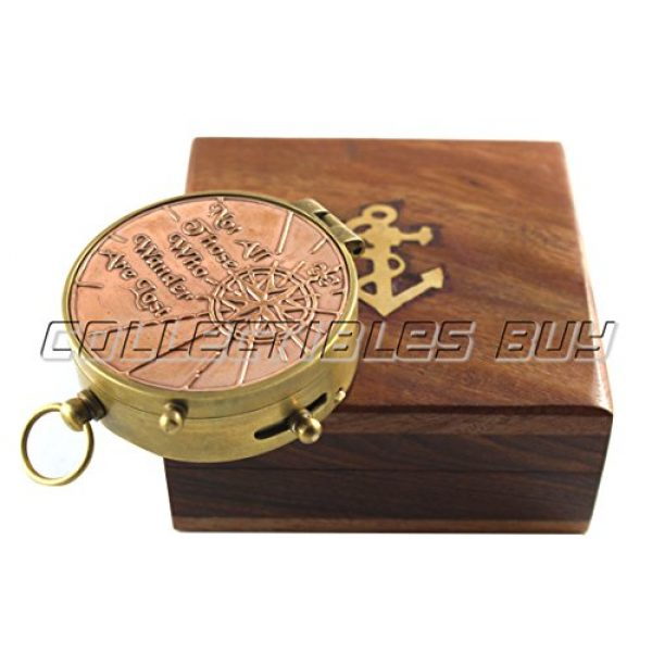 collectiblesBuy Survival Compass 4 an Authentic Quote Compass with Wooden Box - Magnetic Directional Copper Finish, Marine Brass Ship Xmas Gift