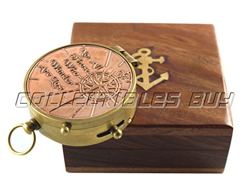 collectiblesBuy  1 an Authentic Quote Compass with Wooden Box - Magnetic Directional Copper Finish