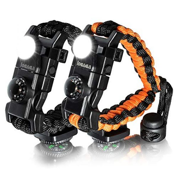 LOGAGA Survival Paracord Bracelet 1 Survival Paracord Bracelet, The Ultimate Tactical Survival Gear with SOS LED Light, Bigger Compass, Whistle, Fire Starter, Thermometer for Camping Hiking Outdoors