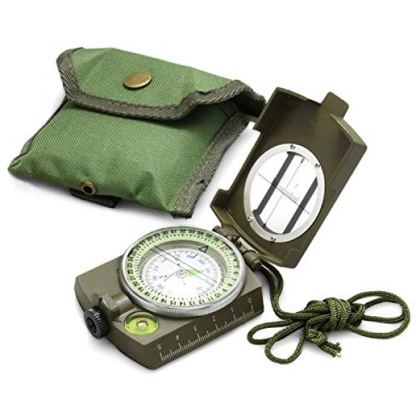 Eyeskey Survival Compass 1 Eyeskey Multifunctional Military Lensatic Tactical Compass | Impact Resistant and Waterproof |Metal Sighting Navigation Compasses for Hiking, Camping, Motoring, Boating, Boy Scout