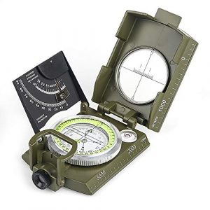 BIJIA Survival Compass 1 BIJIA Multifunctional Sighting Compass for Hiking,Metal Military Waterproof High Accuracy Lensatic Compass with Clinometer and Bubble Level for Hiking, Climbing, Boating, Exploring, Hunting, Geology