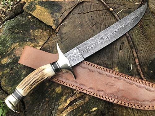 Perkin Knives  1 Handmade Damascus Steel Hunting Knife - Beautiful Bowie Knife - Amazing Value