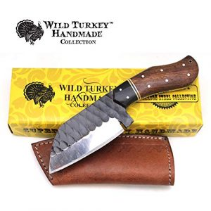 Wild Turkey Handmade  1 Wild Turkey Handmade Collection Full Tang High Carbon Steel Fixed Blade Knife w/Leather Sheath