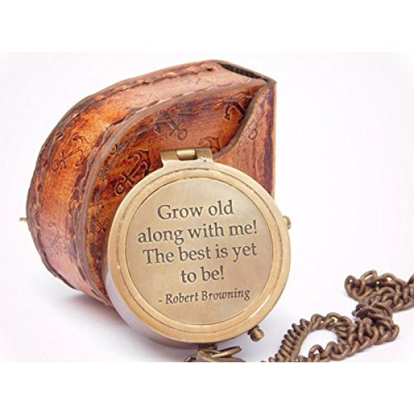 NEOVIVID Survival Compass 1 NEOVIVID Grow Old with ME Engraved Brass Compass ON Chain with Leather CASE, Directional Magnetic Compass