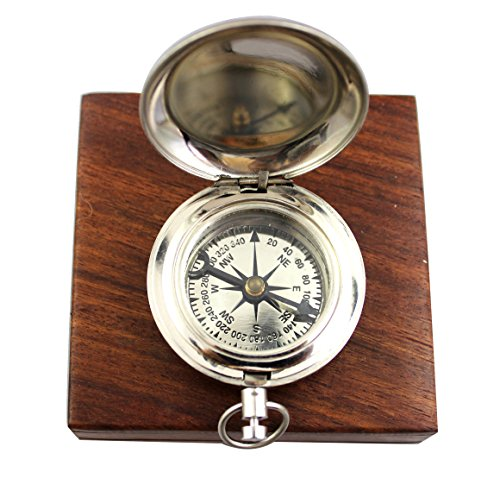 collectiblesBuy  1 collectiblesBuy Charming Wooden Box Pocket Compass Nautical Brass Ship Sailor Navigate Maritime Instrument