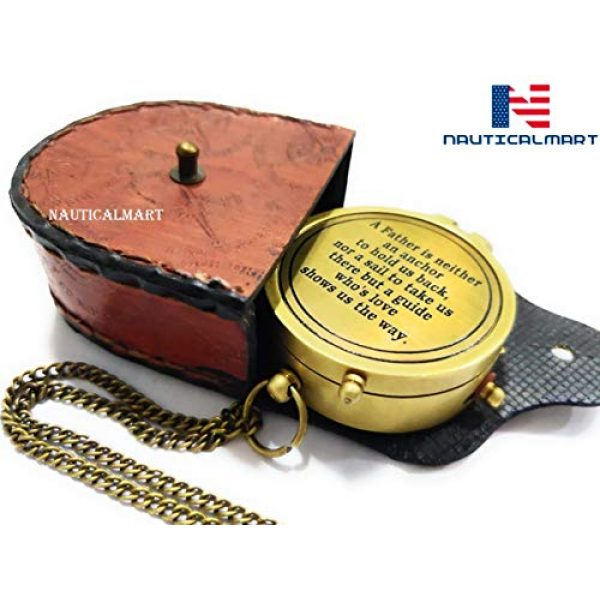 NauticalMart Survival Compass 1 NauticalMart A Father is Neither an Anchor Engraved Compass Best Gift for Dad, Dad's Birthday Gifts, Father's Day Compass with Case