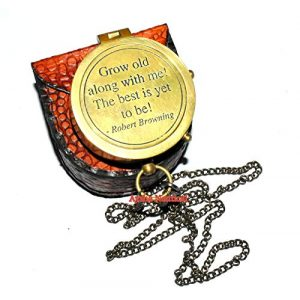 Aysha Nautical Survival Compass 1 Aysha Nautical Grow Old with ME Engraved Brass Compass ON Chain with Leather CASE, Directional Magnetic Compass