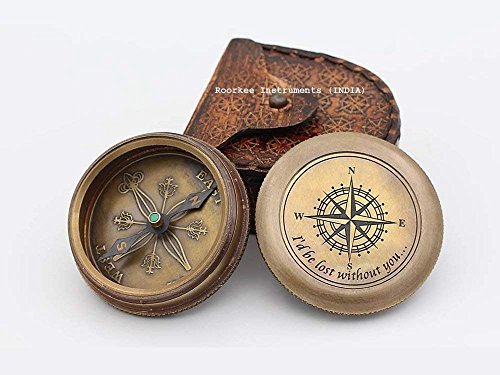 Roorkee Instruments India Survival Compass 1 I Would be Lost Without You Compass with Case/Gift for Love/Valentine's Day Gift