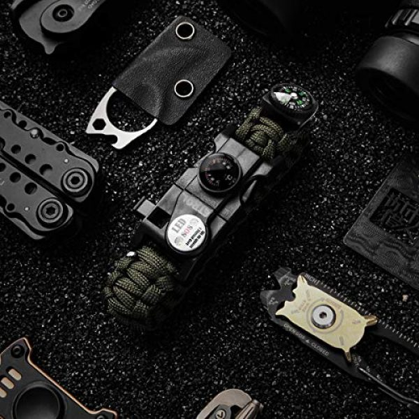 ETROL Survival Paracord Bracelet 1 ETROL Best Gift Paracord Survival Bracelet, New Adjustable 21 in 1 Survival Gear Kit with Waterproof SOS LED Light Whistle Compass Thermometer Fire Starter for Camping Hiking Cycling