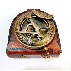 Aysha Nautical Survival Compass 1 Aysha Nautical Gifts for Husband/Nautical Collectibles Brass Sundial Compass with Handmade Leather Case