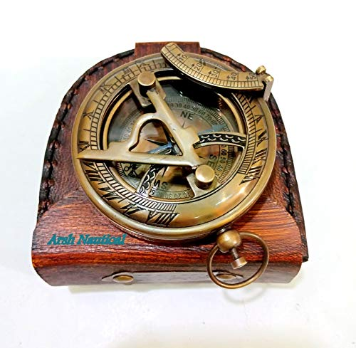 Aysha Nautical  1 Aysha Nautical Gifts for Husband/Nautical Collectibles Brass Sundial Compass with Handmade Leather Case