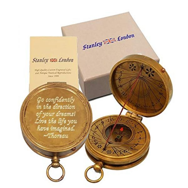 Stanley London Survival Compass 1 Stanley London Personalized Pocket Compass Gift Engraved with Thoreau's Go Confidently Quote