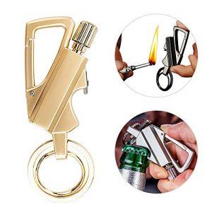 Lixada  1 Lixada Keychain Bottle Opener with Flint Metal Matchstick Fire Starter Great Kerosene Refillable Keychain Multitool Mountaineering Buckle Lighter Emergency Survival Gear