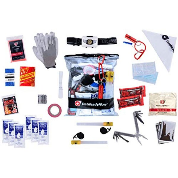 GetReadyNow Survival Kit 1 GetReadyNow | Vehicle Emergency Kit | Earthquake & Natural Disaster Survival Supplies | Compact, Convenient Design | Clear Waterproof Dry Bag with Emergency Essentials