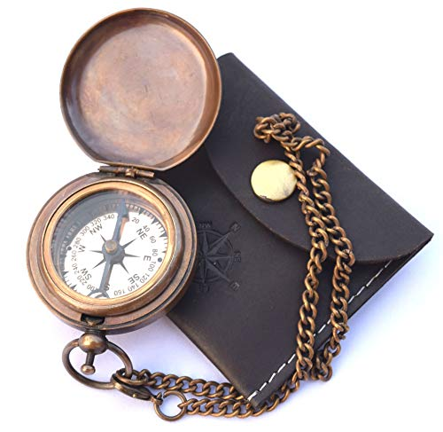 NEOVIVID  1 NEOVIVID Handmade Brass Push Open Compass On Chain with Leather Case