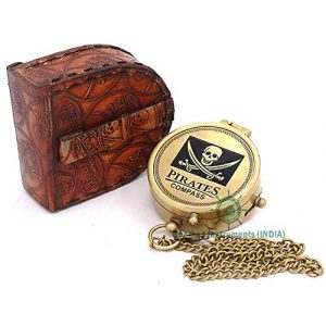 Roorkee Instruments India Survival Compass 1 Roorkee Instruments India Solid Brass Pirate Compass with Stamped Leather Case