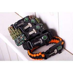 WildSnake Survival Bracelet 1 WildSnake Emergency Paracord Survival Bracelets|Set of Tactical Survival Gear |Flint Fire Starter, Whistle, Compass & Outdoor Survival-Kit Camping/Fishing/Life