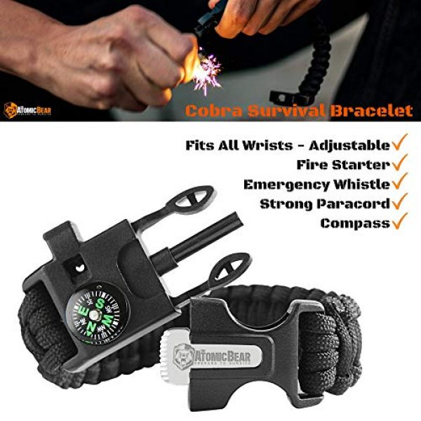 The Atomic Bear Survival Kit 6 Survival Kit for Emergency and EDC - Premium Survival Gear from Atomic Bear: Tactical Knife, MTP6 Pen, Tactical Flashlight, Adjustable Survival Bracelet, Fire Starter, Multi Tool Card, Wire Saw