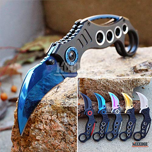 KCCEDGE BEST CUTLERY SOURCE  1 KCCEDGE BEST CUTLERY SOURCE Pocket Knife Camping Accessories Survival Kit Razor Sharp Karambit Survival Folding Knife Camping Gear EDC 55310 (Blue)