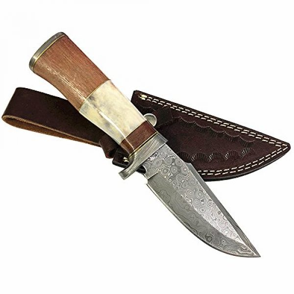 Yooyo Fixed Blade Survival Knife 1 Yooyo Handmade Damascus Knife- Decorative Knives, Camping Survival Knife, and Hunting Knife with Exquisite Walnut Wooden Handle, Sharp Blade with Leather Sheath