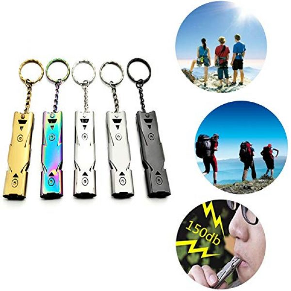 Sikeewii Survival Whistle 1 Sikeewii Outdoors High Decibel Portable Keychain Whistle Stainless Steel Double Pipe Emergency Survival Whistle Multifunction Tool (1Pc) 5 Colors Choice