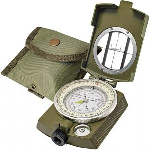 TurnOnSport Survival Compass 1 Lensatic Military Compass Hiking - Tritium Compass Military Grade style Camping Backpacking - Tactical Army Green Compass Survival Navigation - Hiking Waterproof Sighting Compass with Pouch